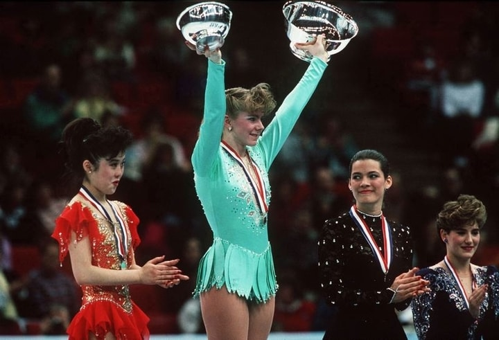 tonya harding win 1991 U.S. figure skating championships with Kristi Yamaguchi and Nancy Kerrigan