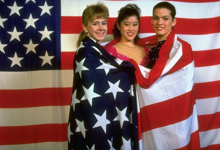 tonya harding winter olympics team usa 1992 with nancy kerrigan and kristi yamaguchi
